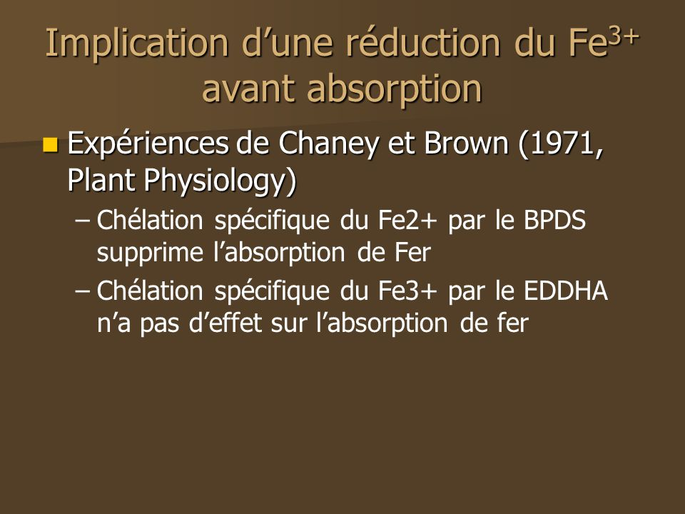 Implication d'une réduction du Fe3+ avant absorption