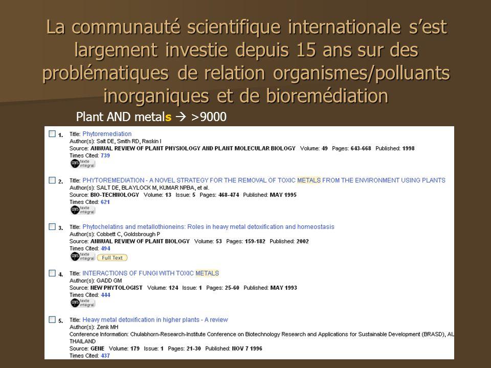 La communauté scientifique internationale s'est largement investie depuis 15 ans sur des problématiques de relation organismes/polluants inorganiques et de bioremédiation