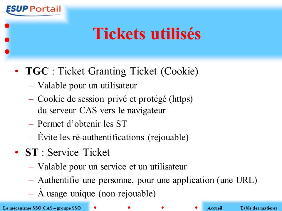 Tickets utilisés TGC : Ticket Granting Ticket (Cookie)