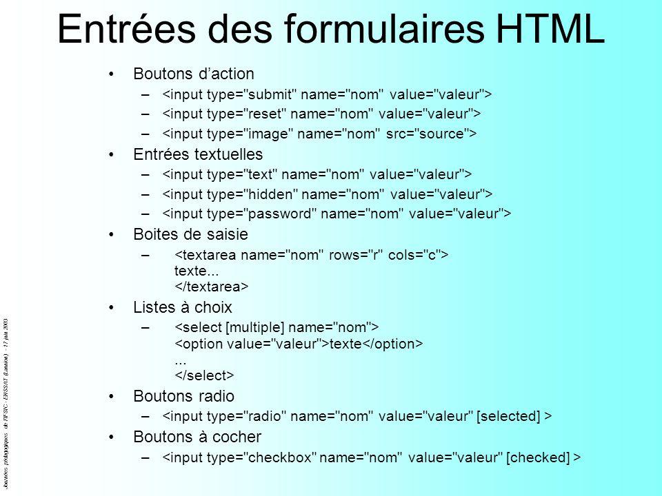 Entrées des formulaires HTML
