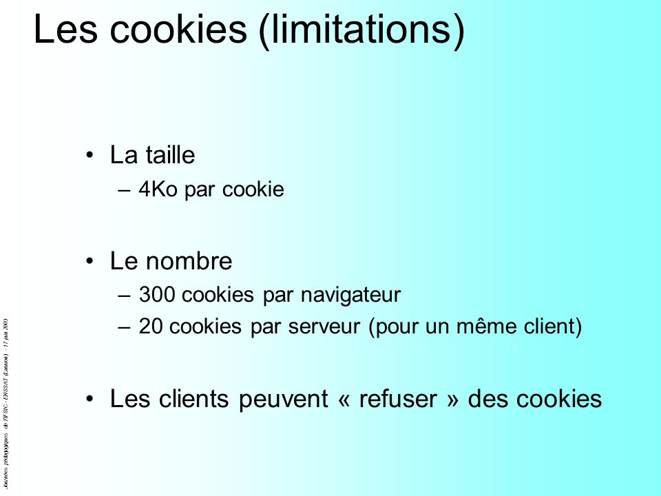Les cookies (limitations)