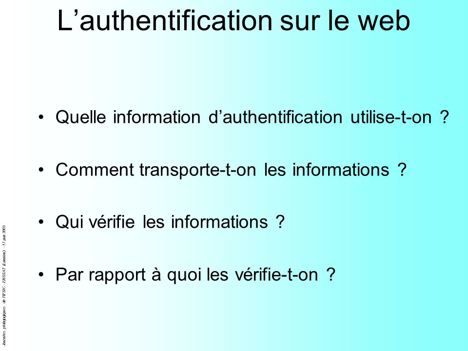 L'authentification sur le web
