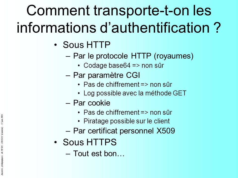 Comment transporte-t-on les informations d'authentification