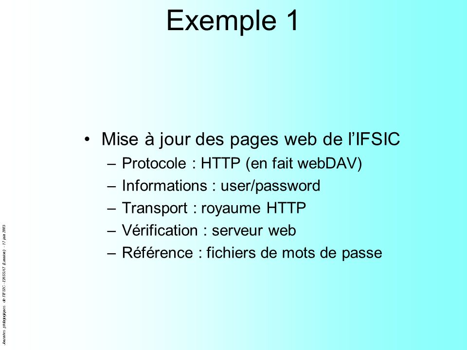 Exemple 1 Mise à jour des pages web de l'IFSIC