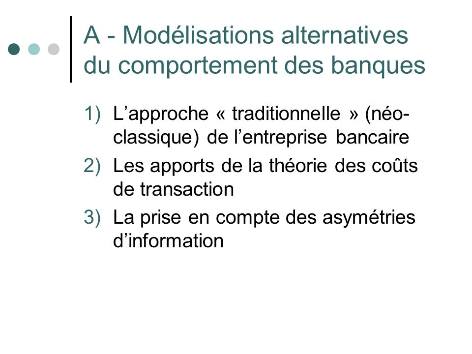 A - Modélisations alternatives du comportement des banques