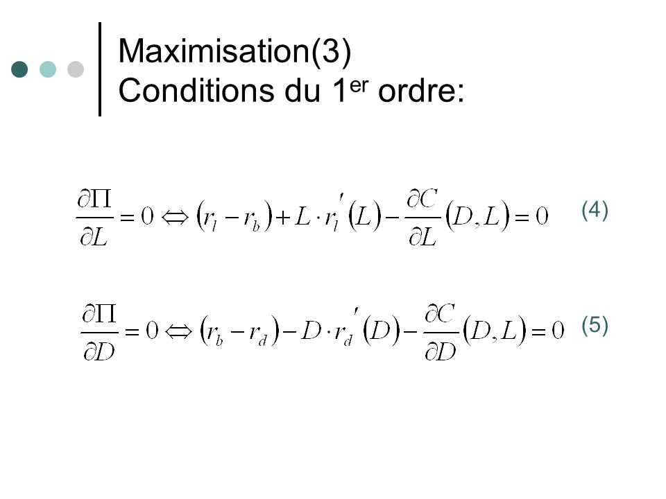 Maximisation(3) Conditions du 1er ordre: