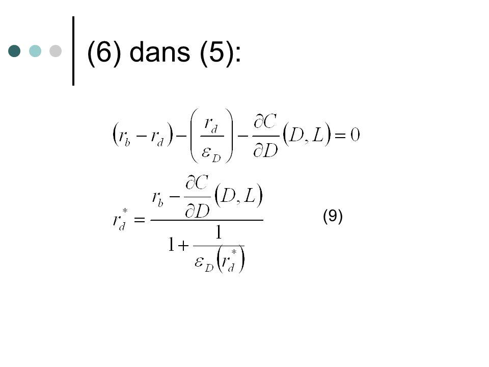 (6) dans (5): (9)
