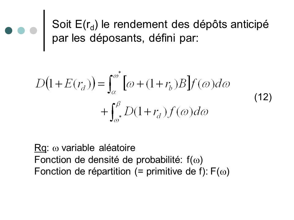Soit E(rd) le rendement des dépôts anticipé par les déposants, défini par: