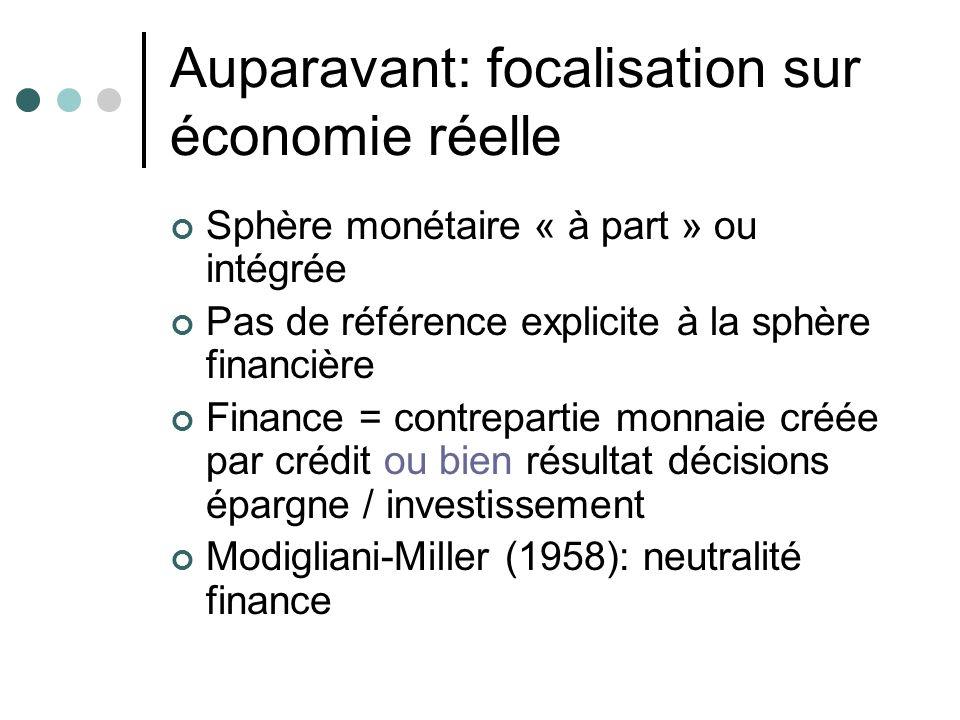 Auparavant: focalisation sur économie réelle