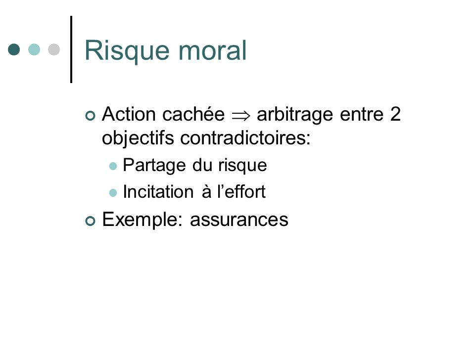 Risque moral Action cachée  arbitrage entre 2 objectifs contradictoires: Partage du risque. Incitation à l'effort.