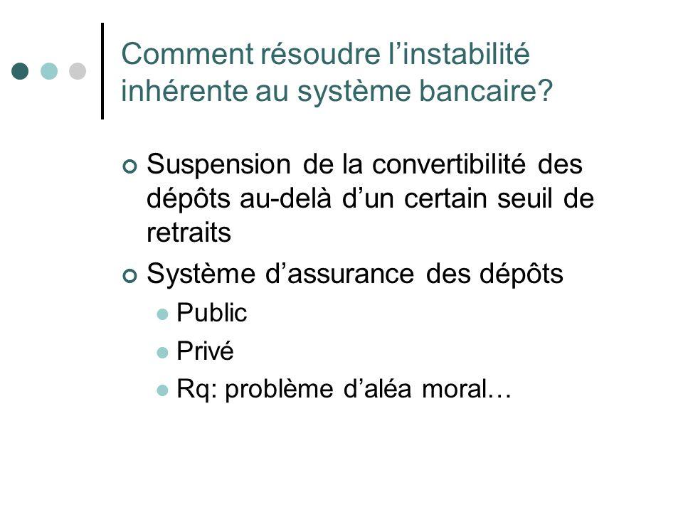 Comment résoudre l'instabilité inhérente au système bancaire