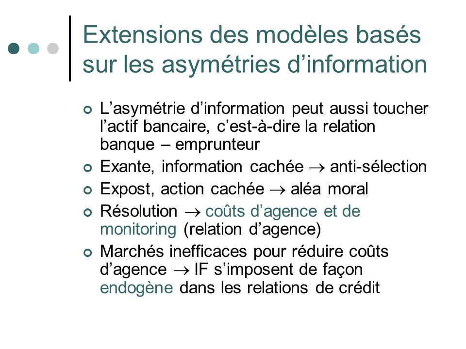 Extensions des modèles basés sur les asymétries d'information