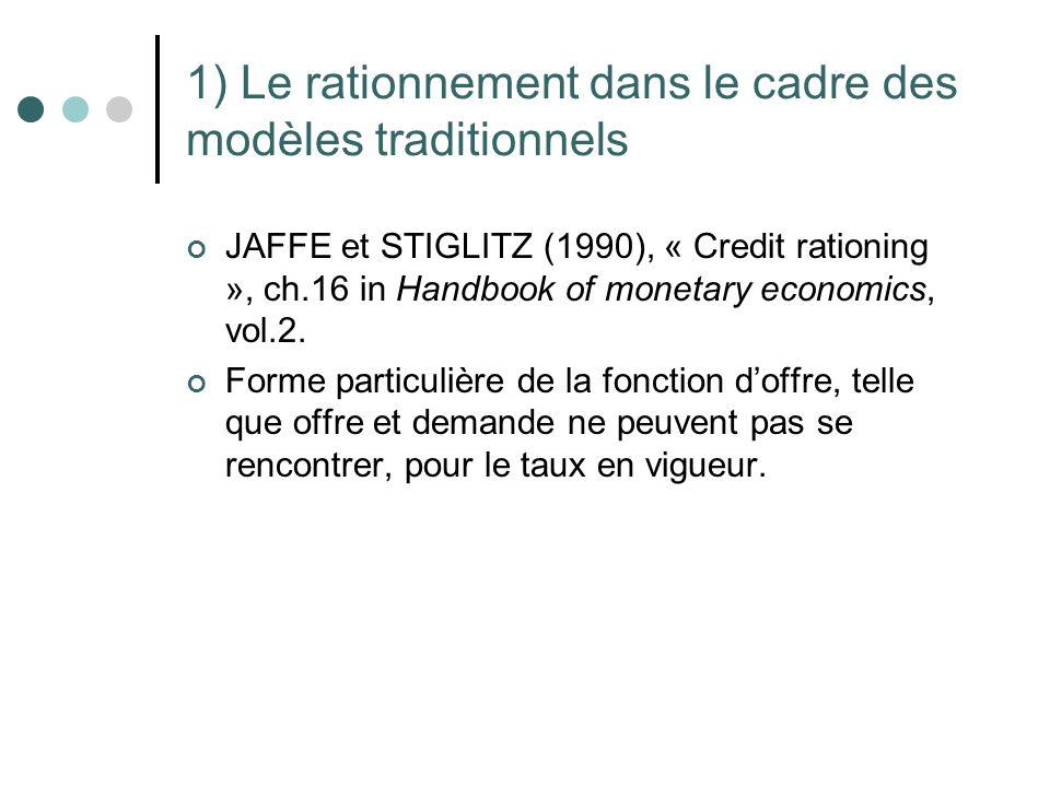 1) Le rationnement dans le cadre des modèles traditionnels