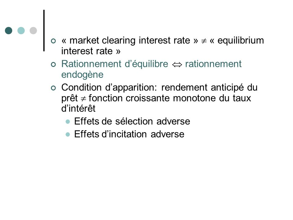 « market clearing interest rate »  « equilibrium interest rate »