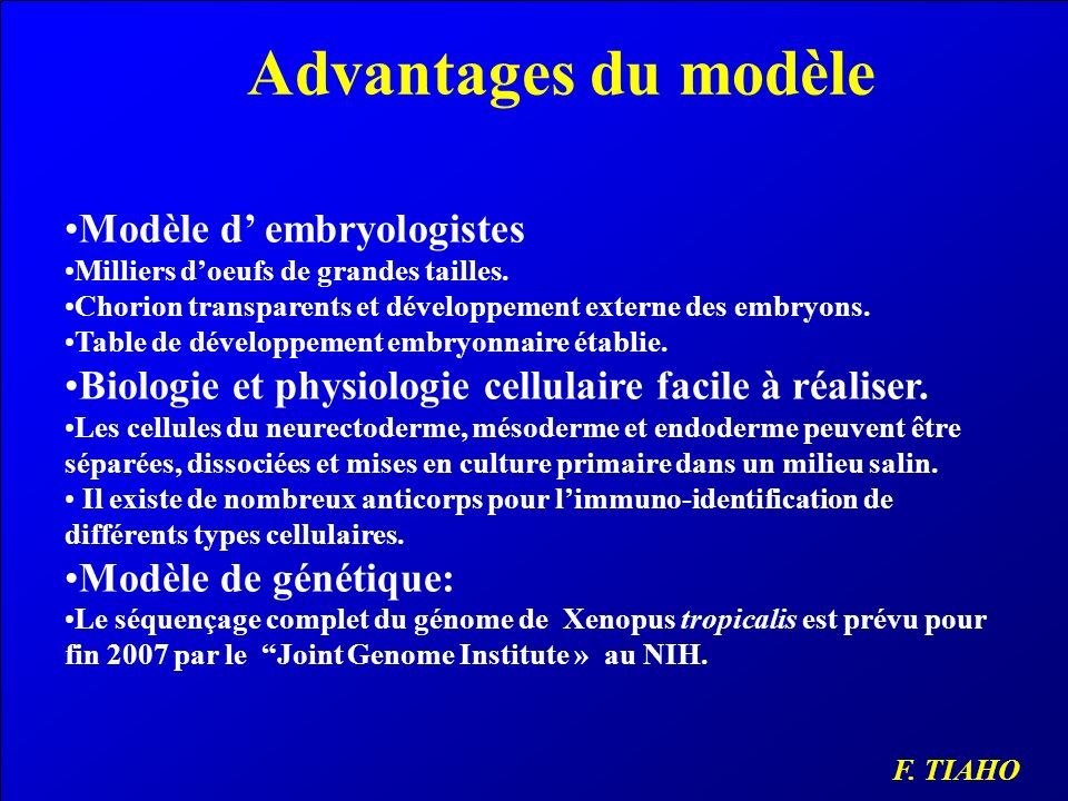 Advantages du modèle Modèle d' embryologistes