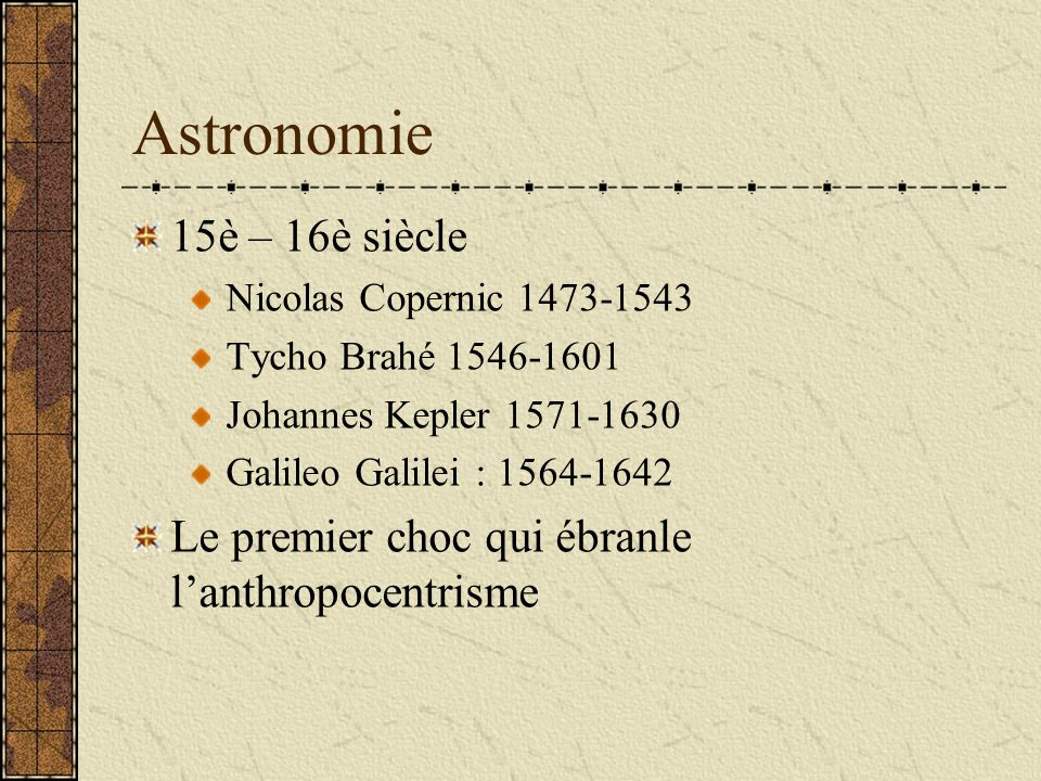 Astronomie15è – 16è siècle. Nicolas Copernic 1473-1543. Tycho Brahé 1546-1601. Johannes Kepler 1571-1630.