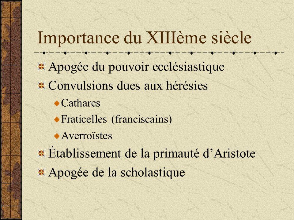 Importance du XIIIème siècle