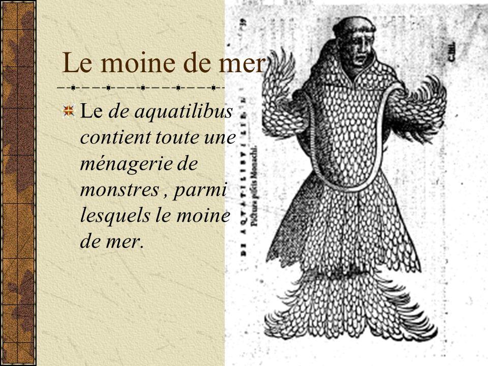 Le moine de mer Le de aquatilibus contient toute une ménagerie de monstres , parmi lesquels le moine de mer.