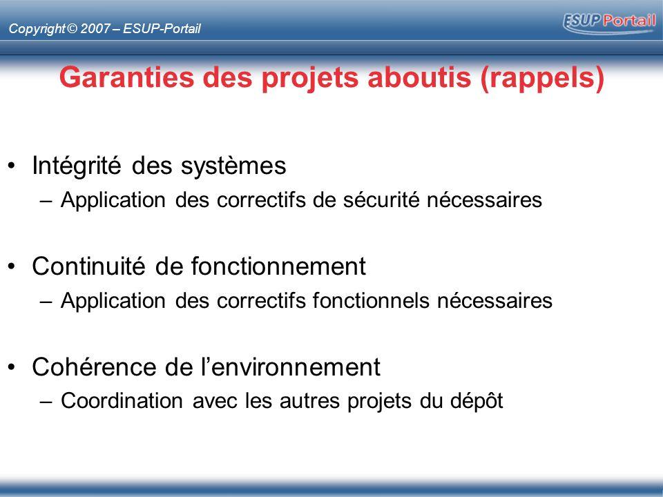 Garanties des projets aboutis (rappels)