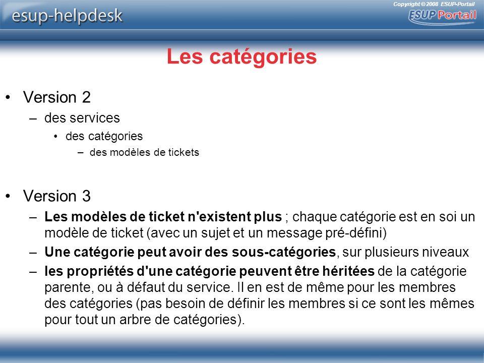 Les catégories Version 2 Version 3 des services
