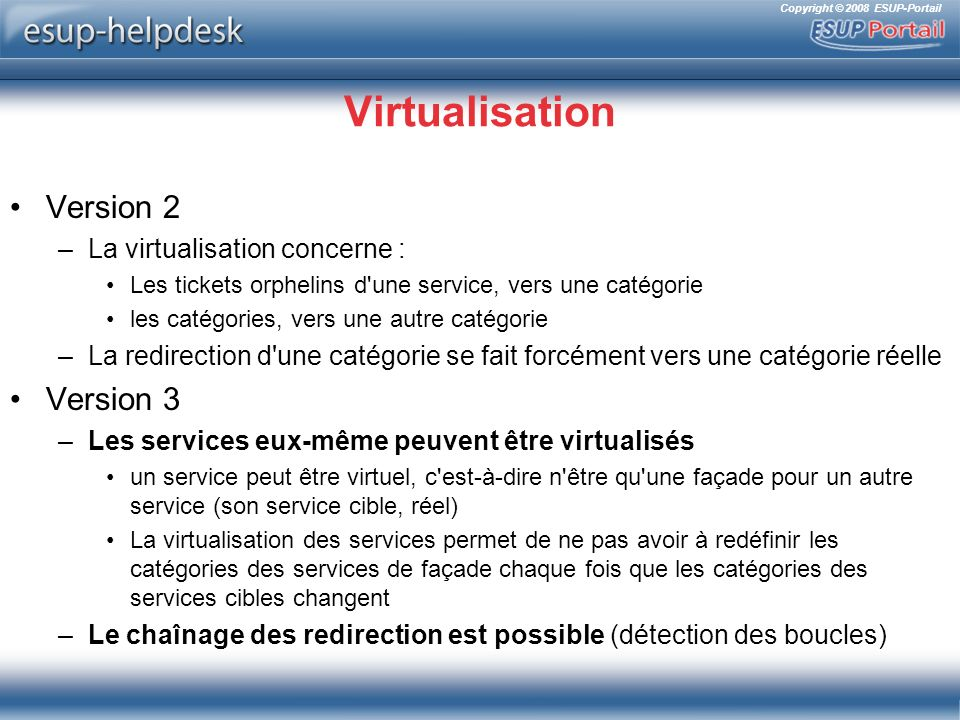 Virtualisation Version 2 Version 3 La virtualisation concerne :