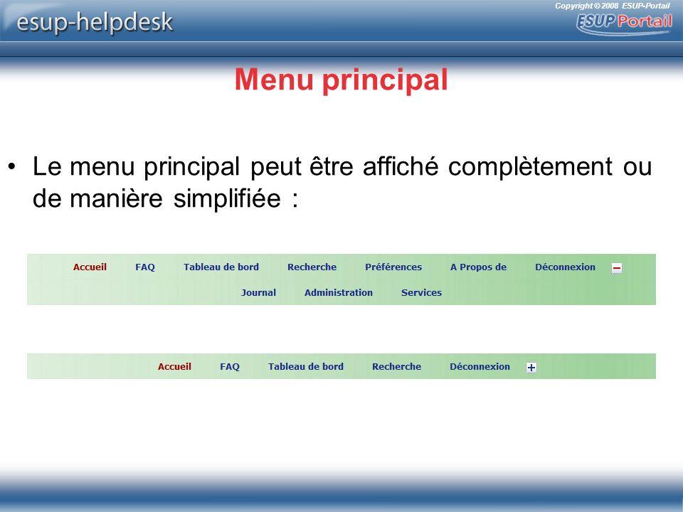 Menu principal Le menu principal peut être affiché complètement ou de manière simplifiée :