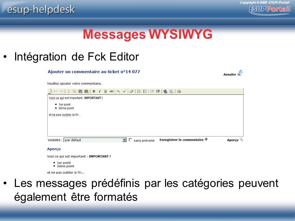 Messages WYSIWYG Intégration de Fck Editor
