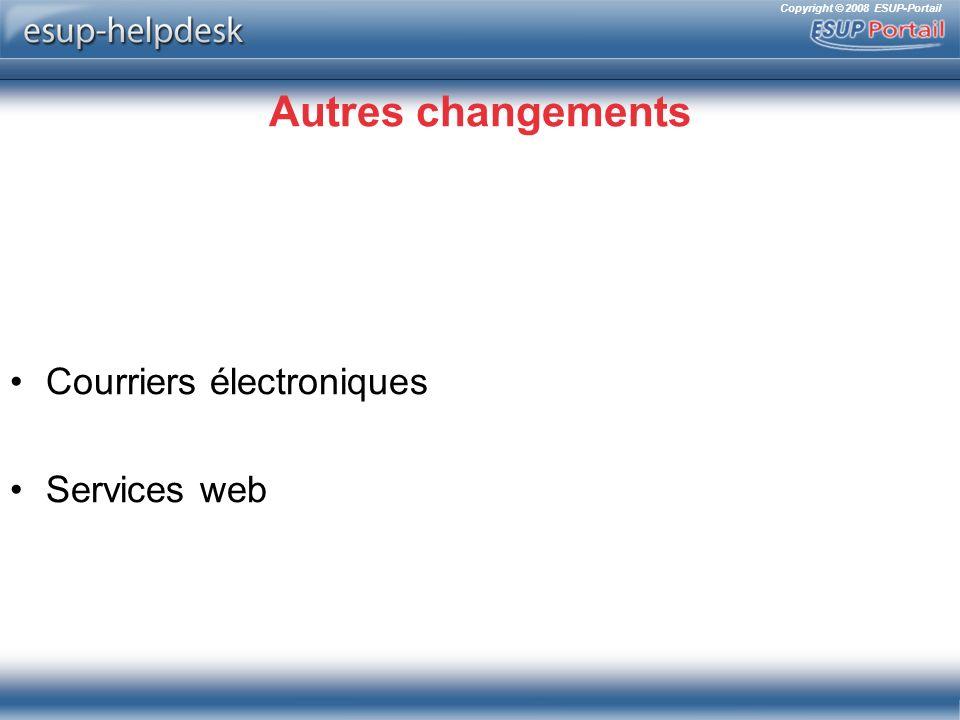 Autres changements Courriers électroniques Services web