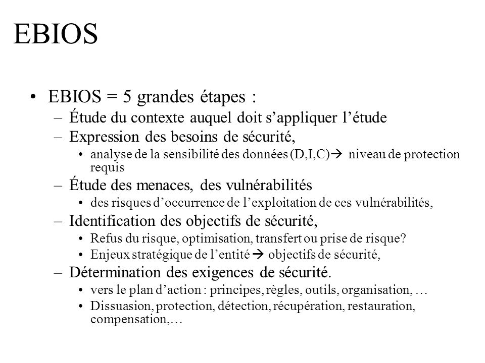 EBIOS EBIOS = 5 grandes étapes :