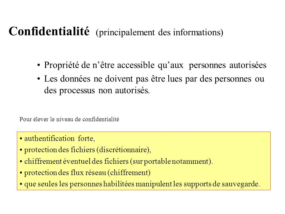 Confidentialité (principalement des informations)