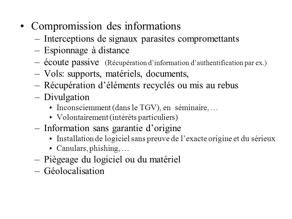 Compromission des informations