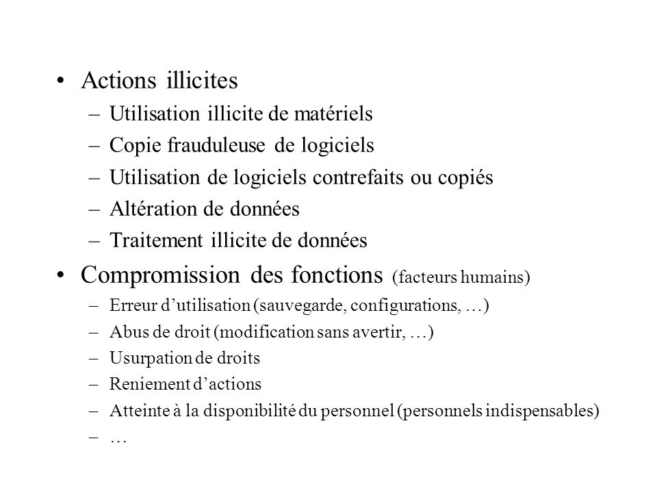 Compromission des fonctions (facteurs humains)