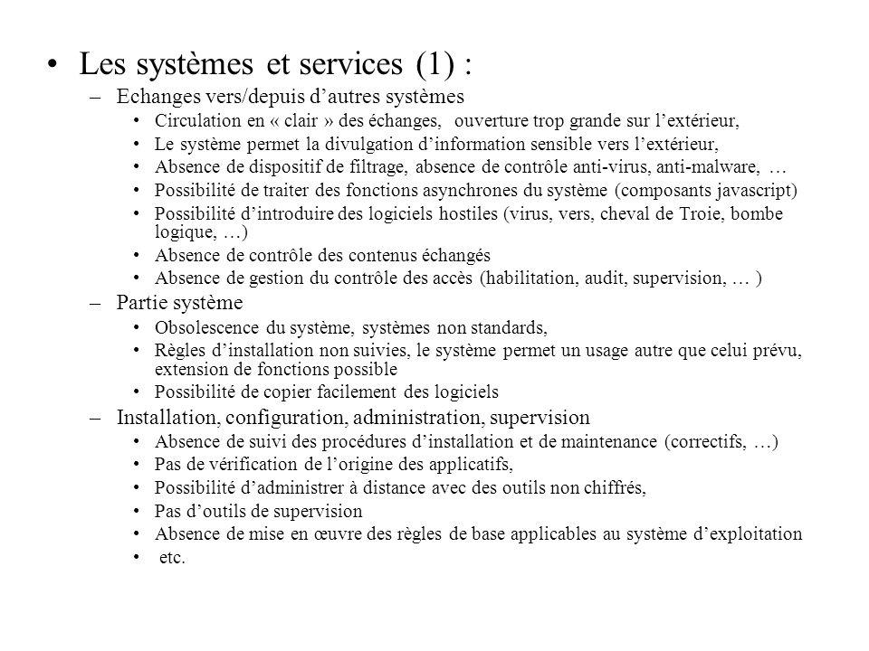 Les systèmes et services (1) :