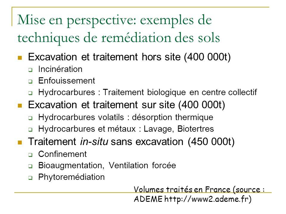 Mise en perspective: exemples de techniques de remédiation des sols