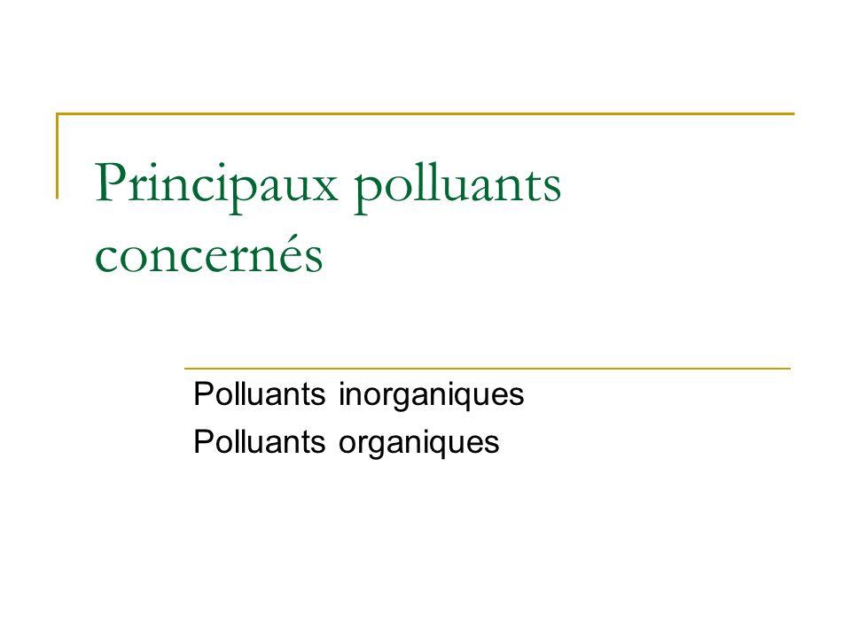 Principaux polluants concernés