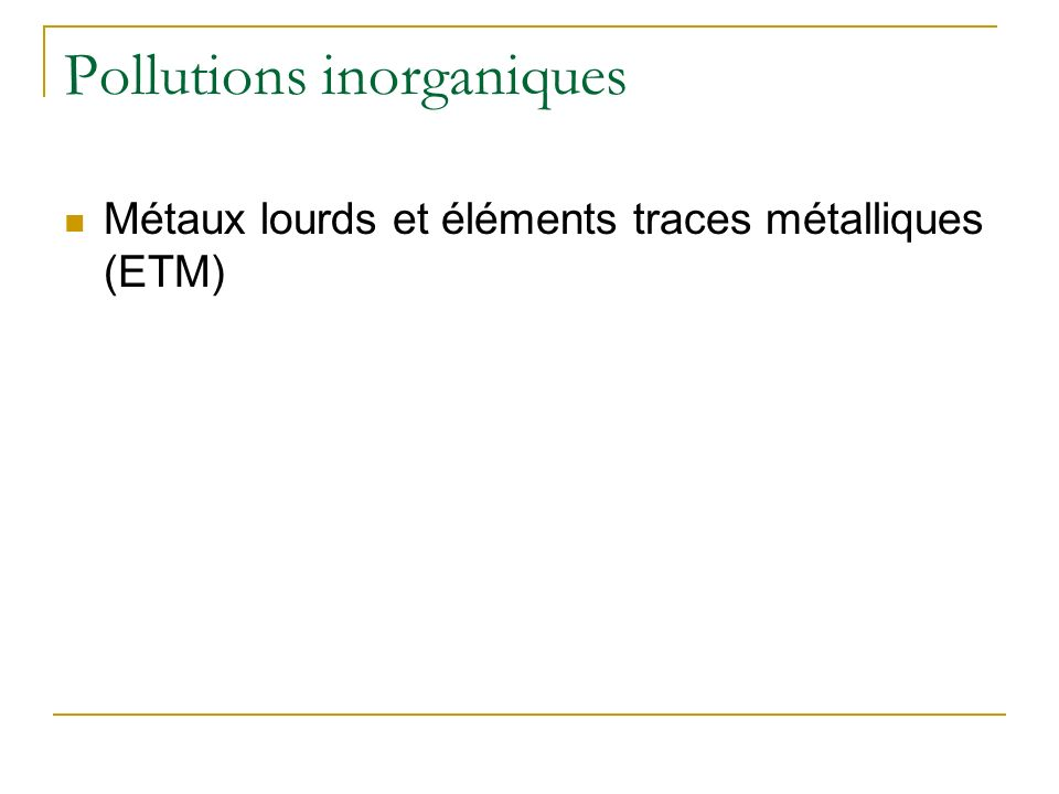 Pollutions inorganiques