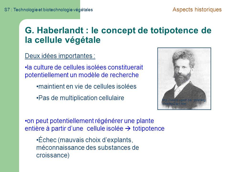 G. Haberlandt : le concept de totipotence de la cellule végétale