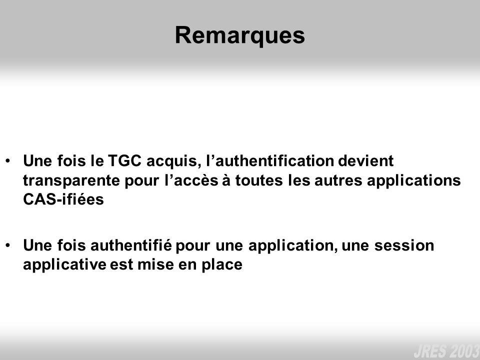 Remarques Une fois le TGC acquis, l'authentification devient transparente pour l'accès à toutes les autres applications CAS-ifiées.