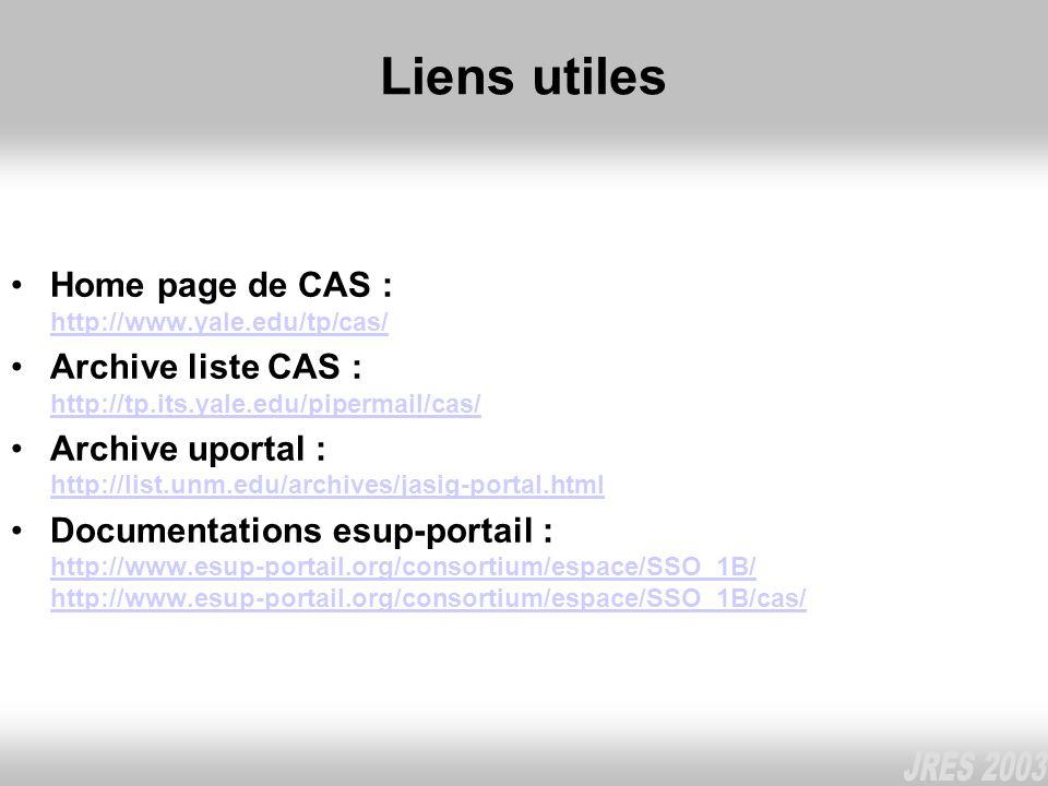Liens utiles Home page de CAS : http://www.yale.edu/tp/cas/