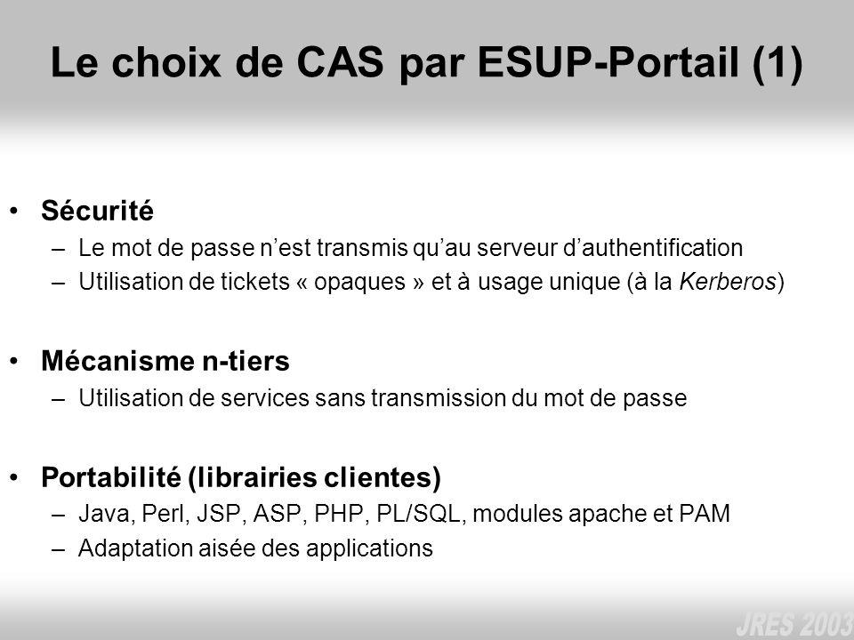 Le choix de CAS par ESUP-Portail (1)