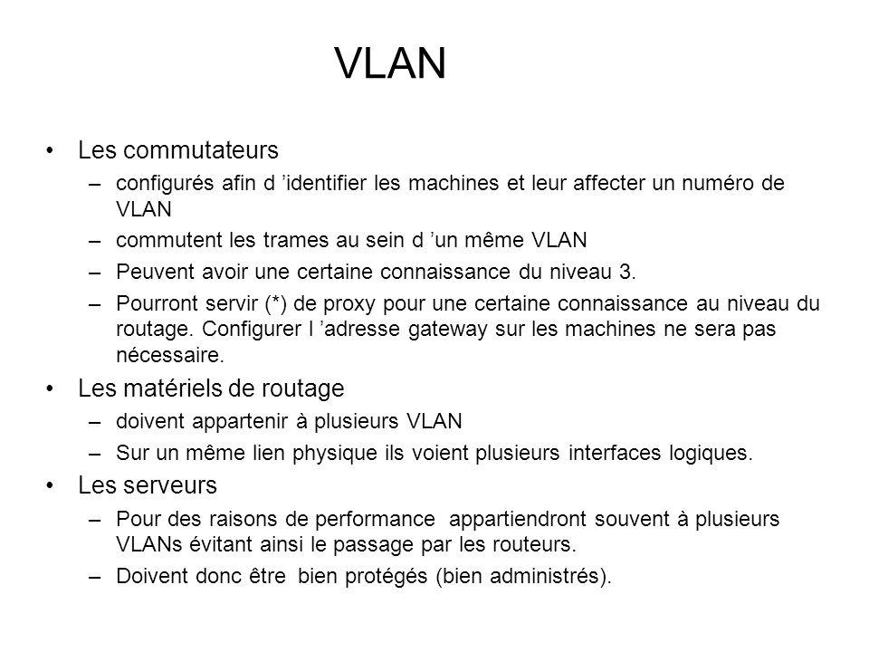 VLAN Les commutateurs Les matériels de routage Les serveurs