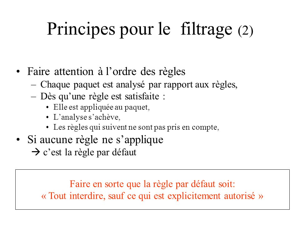 Principes pour le filtrage (2)