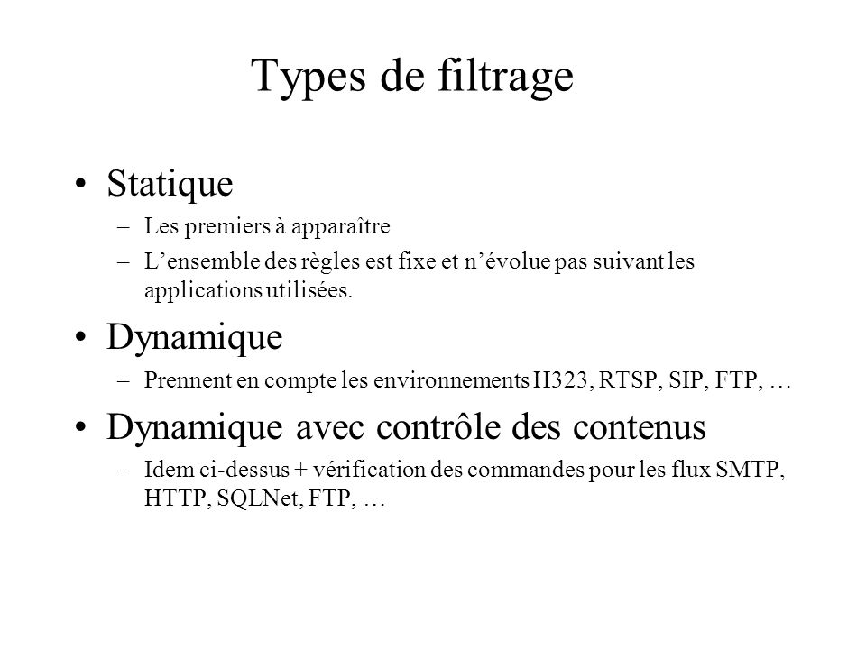 Types de filtrage Statique Dynamique