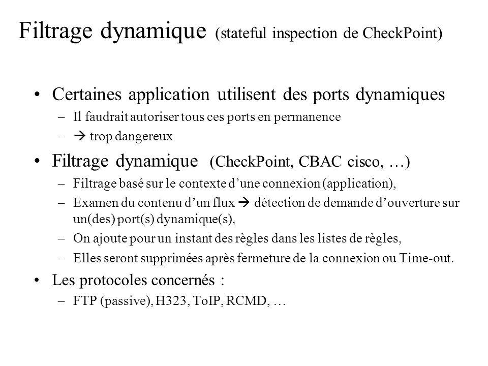 Filtrage dynamique (stateful inspection de CheckPoint)