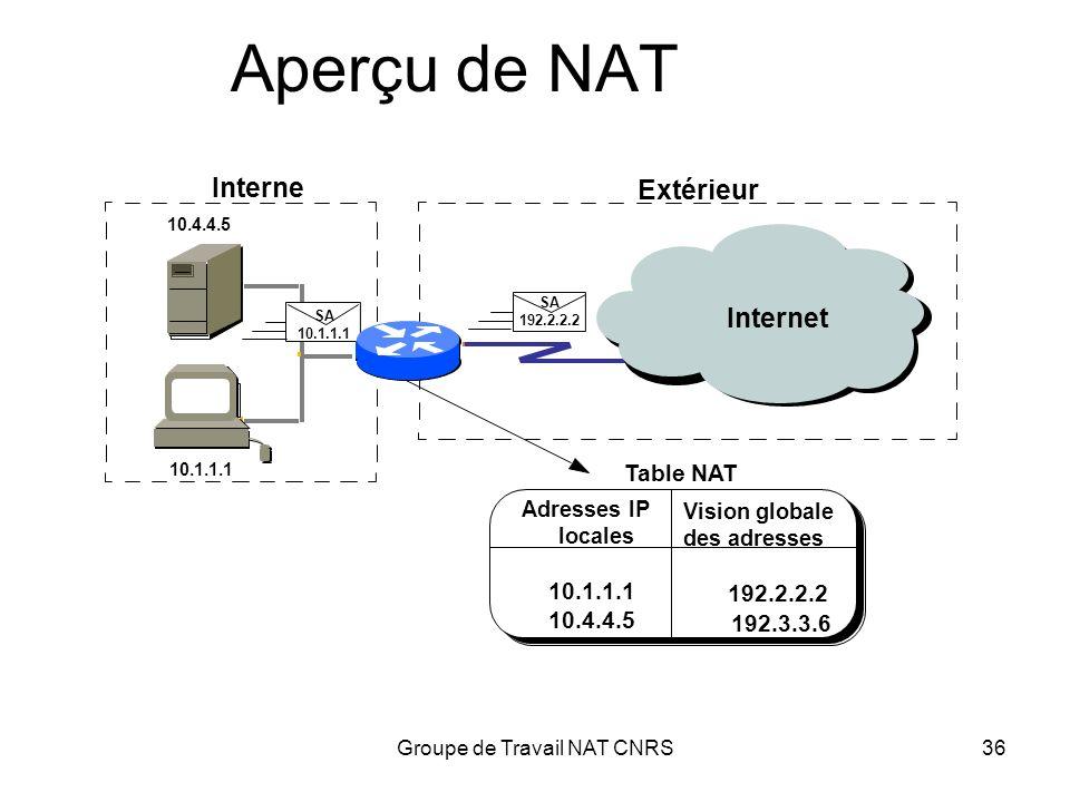 Groupe de Travail NAT CNRS