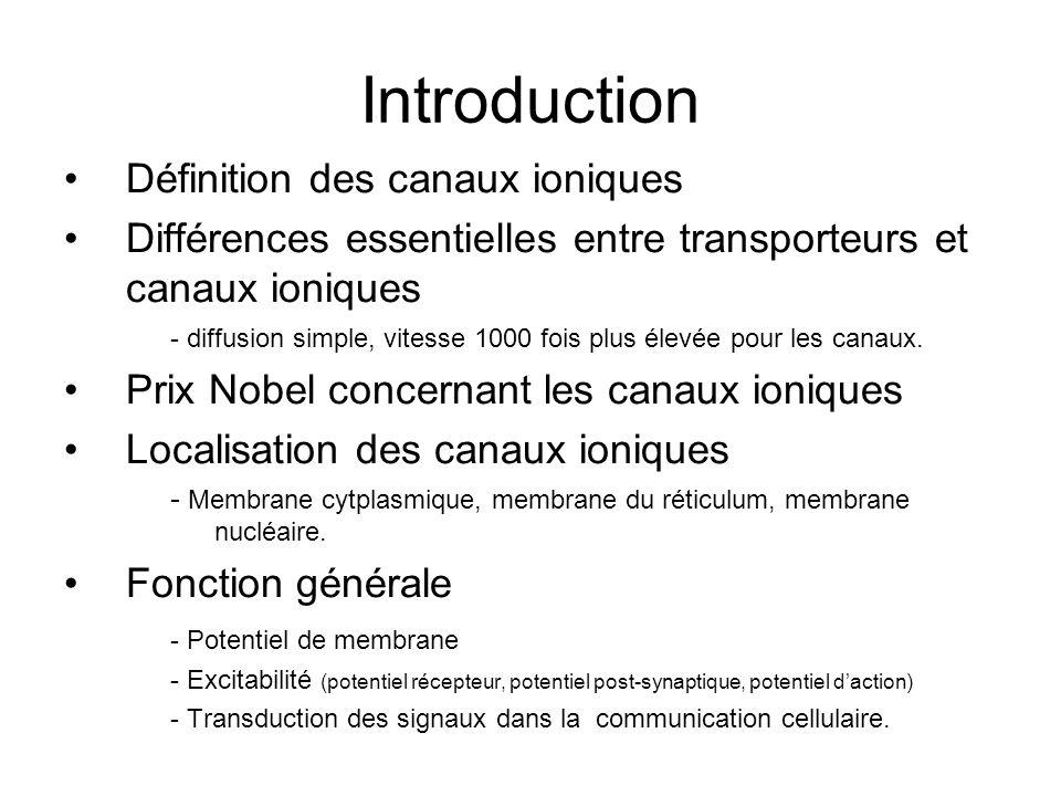 Introduction Définition des canaux ioniques