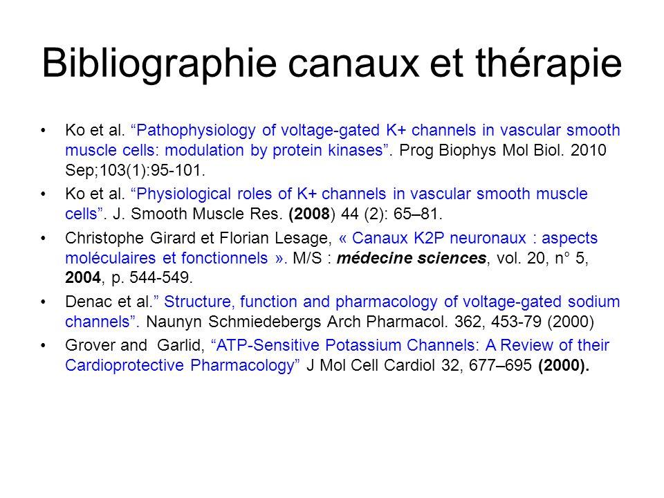 Bibliographie canaux et thérapie