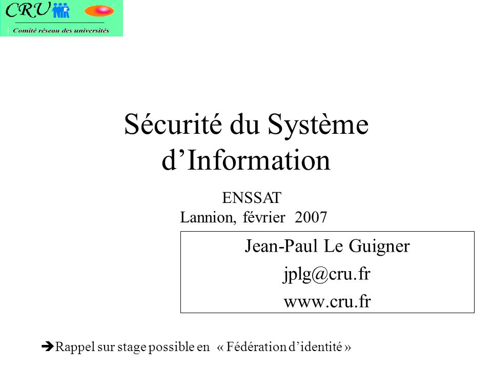 Sécurité du Système d'Information