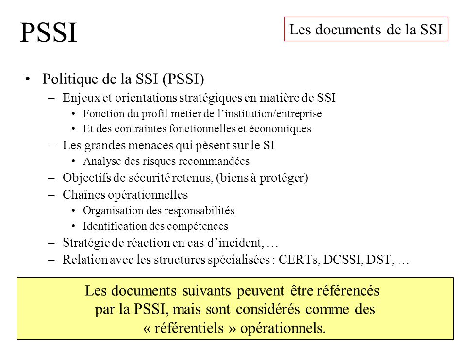 PSSI Les documents de la SSI Politique de la SSI (PSSI)