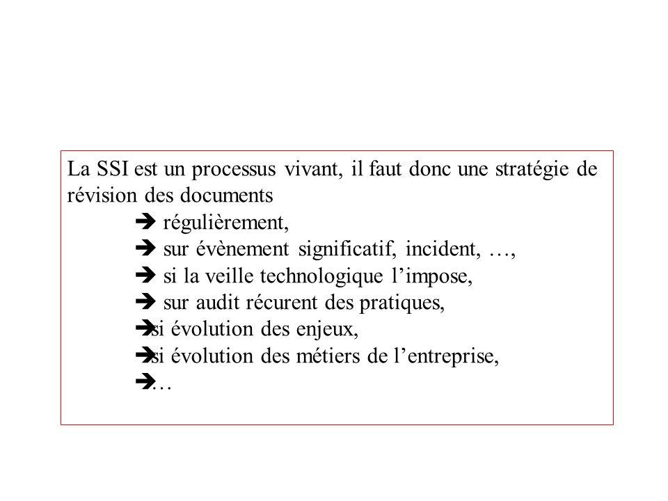 La SSI est un processus vivant, il faut donc une stratégie de révision des documents